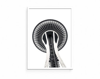 Space Needle Printable, Seattle, Washington, Pacific Northwest, Black and White, Digital Download, Monochrome, City, Photography, Urban,