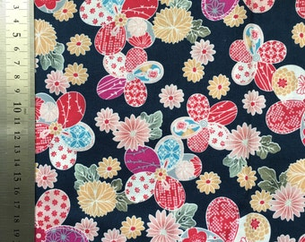 Japanese Navy Blue Floral Cotton Fabric