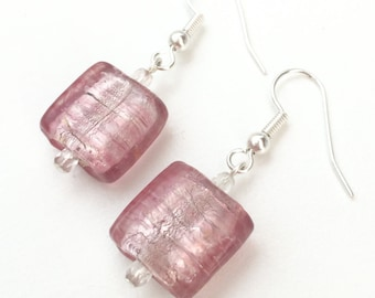 Pink Square Glass Beaded Earrings