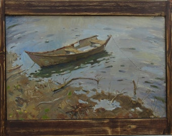 lonely boat original oil painting professional artist