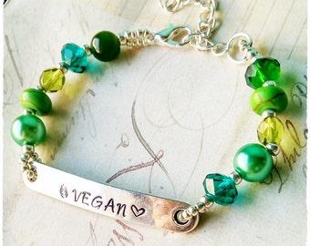 Vegan Bracelet, Vegan Jewelry, Vegan Jewellery, Gift for vegan, Herbivore, Plant based, vegan gift, Animal Rights, Cruelty Free, Beaded
