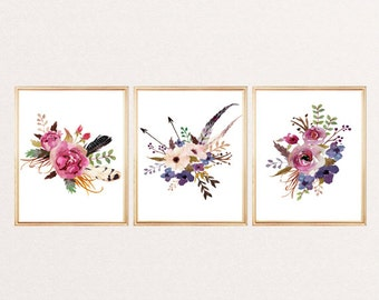 Print watercolor flowers SET OF 3 arrows feathers floral wall art print watercolor poster nursery decor home office decor flowers painting