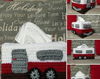 Caravan Crocheted Tissue Box Cover
