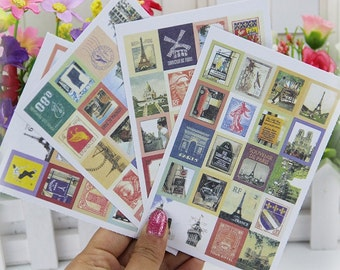 Vintage Paris Stickers Stamps / Retro France Stickers Stamps