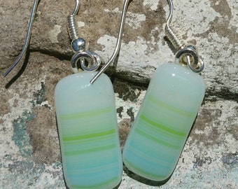 Fused Glass Jewelry Earrings - Dangle Earrings - Light Green Earrings - Lime Green Earrings - Blue Earrings - Blue Green Earrings