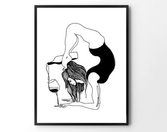 funny yoga print, original yoga art, unique yoga gift, black and white, modern, yoga wine, yoga drawing, yoga studio art, pen and ink, yogi
