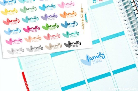 Family Time Planner Stickers | Stickers For Planners, Spend Time With Family Stickers, Planner Stickers, Functional Stickers