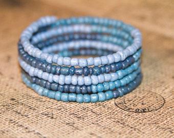 Blue Memory Wire Bracelet, Boho Bracelet, Beaded Bracelet, Cuff Bracelet, Wrap Around Bracelet, Bohemian Memory Wire Bracelet