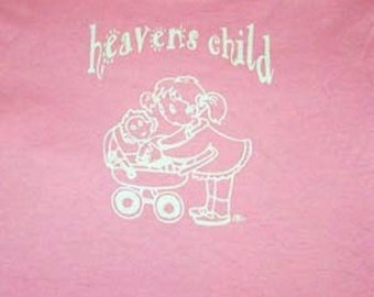 Heavens child tshirt, cute girl with doll and carriage