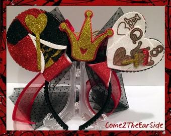 Disney Inspired Queen of Hearts Alice in Wonderland Halloween Mickey Minnie Ears