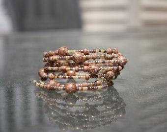 Cinnamon Chai Multi Layer Beaded Wrap Bracelet
