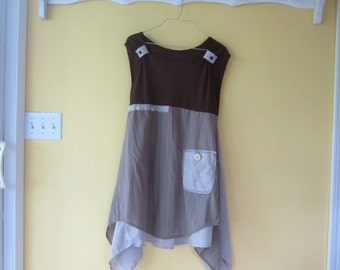 Lagenlook upcycled tunic dress repurposed clothing bohemian patches frayed edges cotton top S/M SherryJonesDesigns