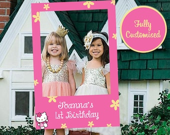 Hello Kitty Frame Party Photo Booth Prop (Digital File Only) 1st Birthday Party Photo Props