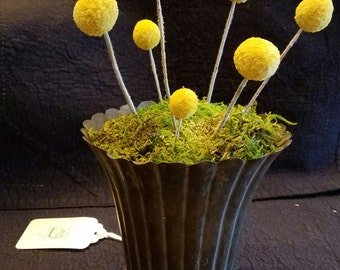 Copper vessel with moss and billy balls