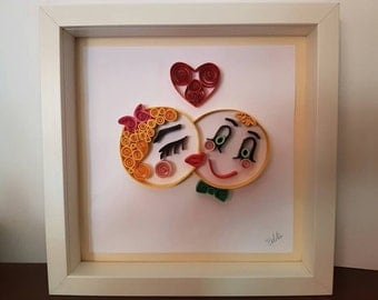 """Art painting quilling """"emoticons in love"""""""