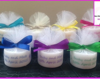 Personalised Candle Tealight Wedding Favours any colour (Set of 10) silver, purple, royal blue, teal, coral, red, gold and many more!