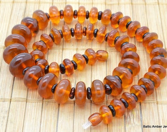 Natural Baltic Amber Necklace Chunky Beaded 50 cm lenght, 43 grams