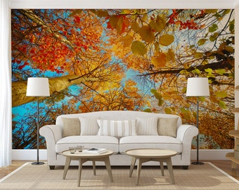 Autumn Forest Treetop Large WALL MURAL, Self Adhesive Peel And Stick 3D  Photo Mural,