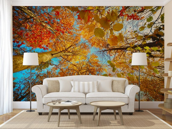 Autumn forest treetop large wall mural self adhesive peel for Autumn forest wall mural