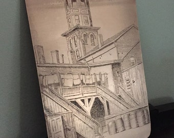 Vintage Copper Engraved Litho Plate - 1920s-1930s - Courtyard & Cupola