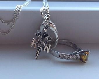 Nurse Ring holder necklace: wedding, engagement, ring holder, bridal, maternity.