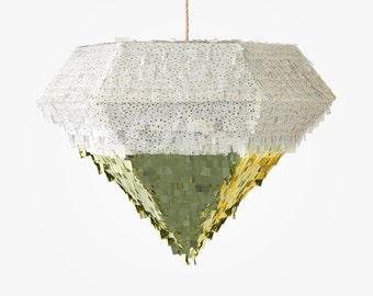 Diamond Piñata White/Gold Flake and Metallic Gold