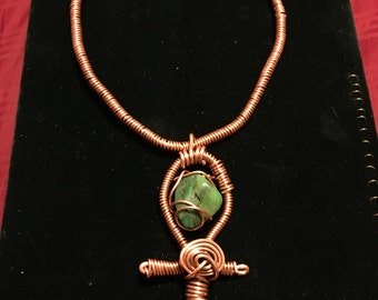 Copper Amazonite Ankh Choker