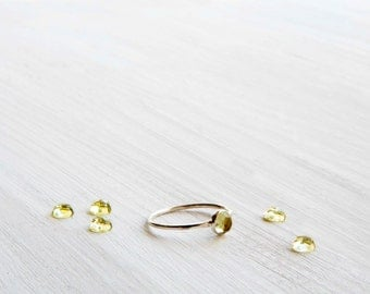 Dainty Sterling Silver and Lemon Quartz Stacking Ring