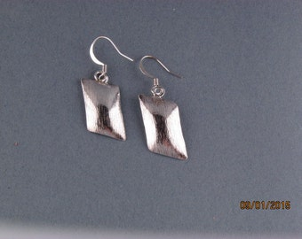 Silver Handmade Parallelogram Earrings