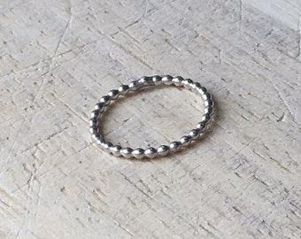 Beaded Baby Stacking Ring (sterling silver)