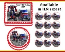 Transformers Optimus Prime Truck Edible  Birthday  Cake Cupcake Cookie Topper Party Decoration Icing Sheets