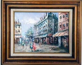 J. GASTON SIgned Original Oil Painting / Impressionist Paris Street Scene