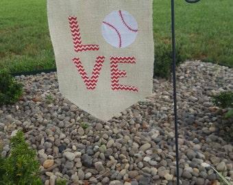 Burlap summer love baseball garden flag