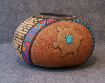 Fine Carved and Painted Gourd Vessel