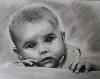 custom charcoal and pastel baby/child portraits
