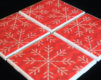 Tile Coasters ~ Snowflake Tile Coasters ~ Red Coasters ~ Tile Coasters ~ Drink Coasters - Handmade Coasters - Christmas Coasters