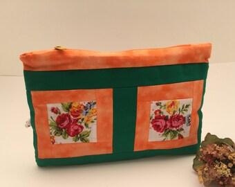 Make up bag cosmetic case makeup bag cosmetic bag orange