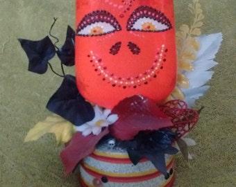 Orange Bottle Head Day of the Dead