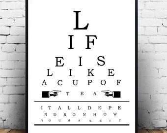 Tea Print, Coffee, Kitchen Poster, Vintage Eye Chart, Eye Chart Art Print,  Printable Digital Download