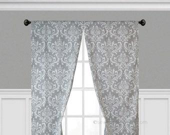 Gray Curtains Grey Window Treatments Custom Drapes Floral Curtain Panels  Living Room Bedroom Nursery Drapes Valance