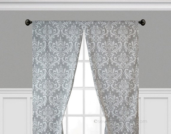 Gray Curtains Grey Window Treatments Custom Drapes Floral