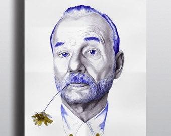 Poster Bill Murray, Steve Zissou, Illustration, Art, Poster, biro,  art et collection, bill murray, cinema, portrait, realism, icone