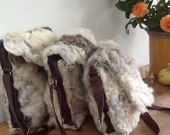 Bags of felted sheep wool