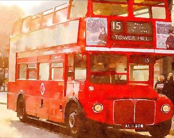 Double Decker London bus print, digital download UK bus printing, London instant download poster, print at home watercolor bus wall decor