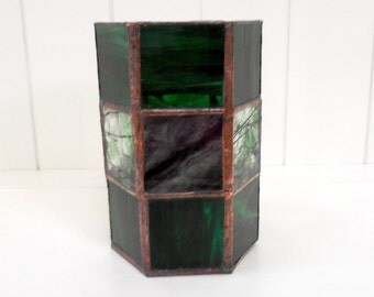 Handmade Stained Glass Hexagon Candle Holder