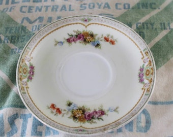 Ornate Floral Tea Cup Saucer Vintage Made in Japan Mepoco China Pink/Gold/Blue/Green/Red