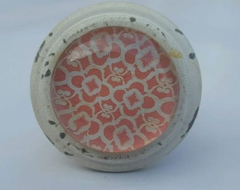 Coral / Orange Moroccan Inspired Door / Drawer Knob ~ Upcycling Project