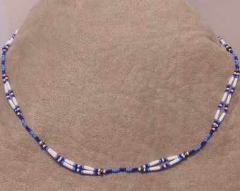 Blue and White Seed Bead Necklace