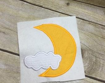 Moon And Clouds Applique. Moon and Clouds Embroidery Design