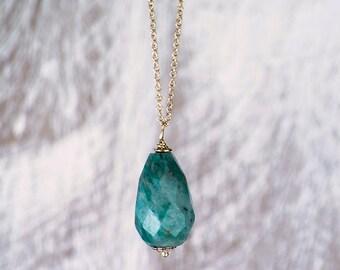 Jade Teardrop necklace/Green Jade faceted teardrop necklace/Jade Stone necklace/August Birthstone